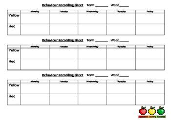 Behaviour Recording Sheet