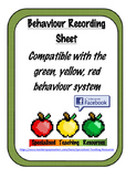 Behaviour Recording Sheet