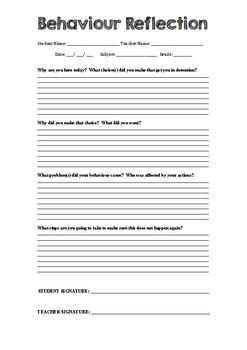 Behaviour Reflection Form