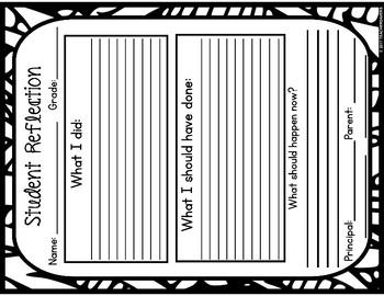 Behaviour Reflection Sheets for class management