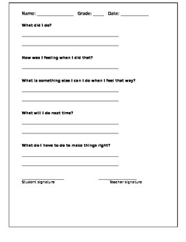 Behaviour Reflection Worksheet