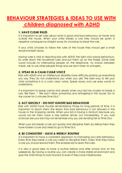 Behaviour Strategies and Tips for children with ADHD