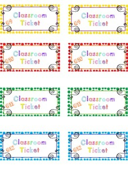 Behaviour Strategy - Tickets for each student