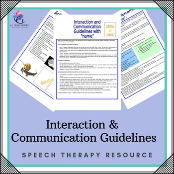 Behaviour Support: Interaction and Communication Stragegies/ Guidelines
