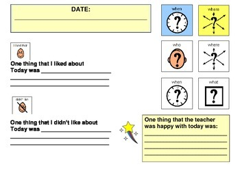 Behaviour Support School Behavioural Diary and Reward Chart - Weekly