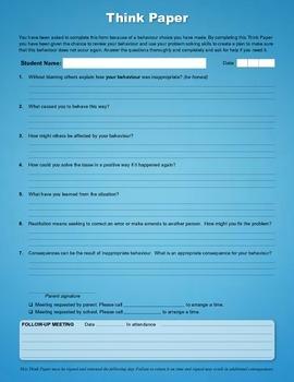 Behaviour Think Paper (PDF Fillable Form)