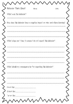 Behavior/Behaviour Think Sheet