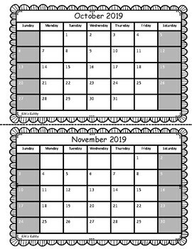 Behavior Chart Calendar 2017-2018