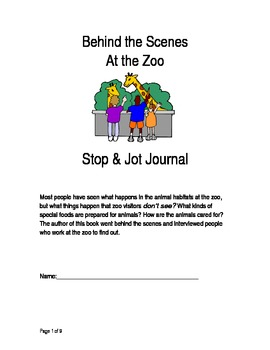Behind the Scenes at the Zoo Stop and Jot Journal - Rigby Guided Reading