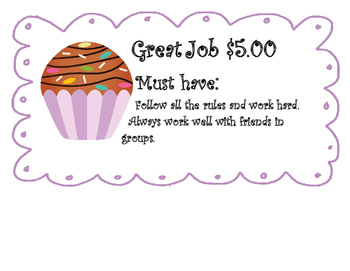 Cupcake Behavior Posters for Earning Money