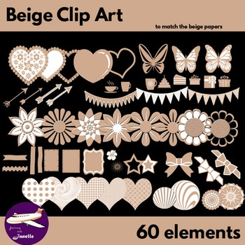 Beige Clip Art Decoration Scrapbooking Elements - 60 items