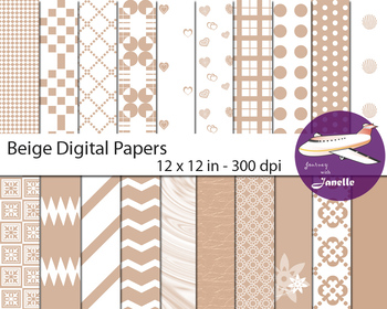 Beige Digital Papers for Backgrounds, Scrapbooking and Classroom Decorations