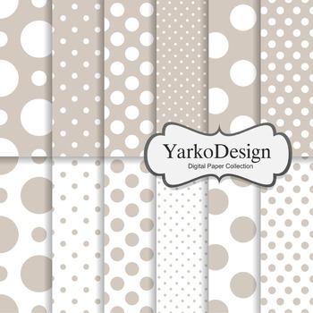 Beige Polka Dot Digital Scrapbooking Paper Set, 12 Digital Paper Sheets