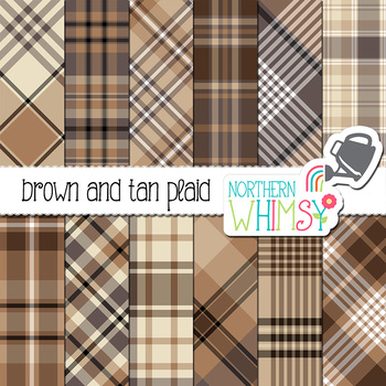 Beige, Brown, and Tan Neutral Plaid Digital Paper