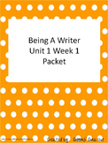 2nd Grade Being A Writer Unit 1 Week 1 Resource Packet