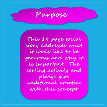 Being Generous Social Stories, Activity, and Pledge Card