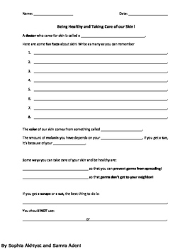 Being Healthy and Taking Care of our Skin!_Worksheet