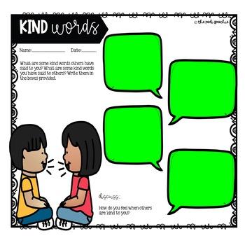 Free Kindness Activity | Social Skills Activity | Speech Therapy Freebie