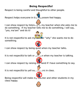 Being Respectful Social Story for Older Students
