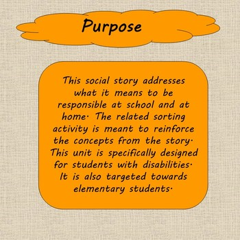 Responsibility Social Stories, Activity, and Pledge Cards