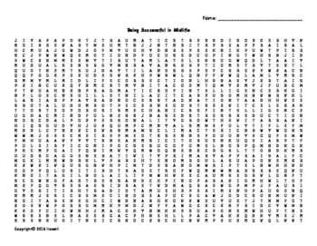 Being Successful in Midlife Vocabulary Word Search for Hum