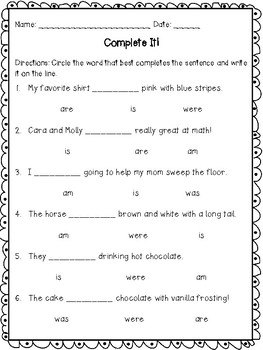 Being Verbs-To be (am, is, are, was, were) Printables and Activities