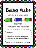Being Verbs-To be (am, is, are, was, were) Printables and