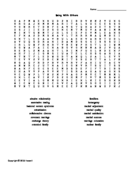 Being With Others Vocabulary Word Search for Human Development