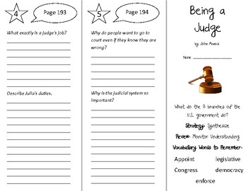 Being a Judge Trifold - 5th Grade Literacy by Design Theme 6