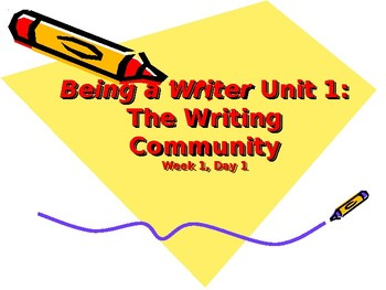 Being a Writer - Unit 1 - Fourth Grade