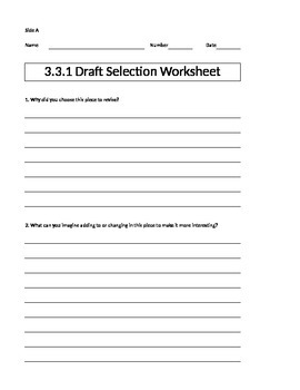 Being a Writer Worksheet-PowerPoint Companion Unit 3 Week 3