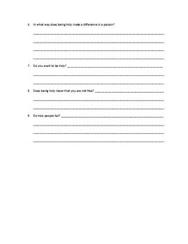 Being holy worksheet