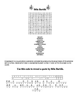 Bela Bartok word search, cryptogram puzzle, and word fall