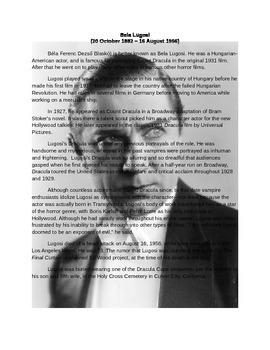 Bela Lugosi Notes and Wordscramble Puzzle Worksheet