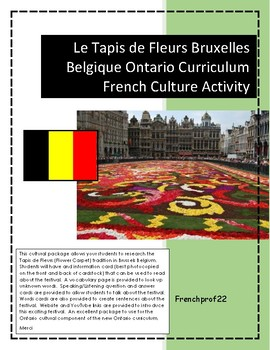 Belgium Belgique Tapis de Fleurs Cultural activites Ontario French Curriculum