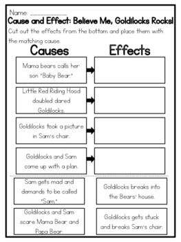 Believe Me, Goldilocks Rocks! Cause and Effect Worksheet