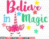 Believe in Magic Flower Unicorn clipart svg cameo Studio3 t-shirt design 55sv