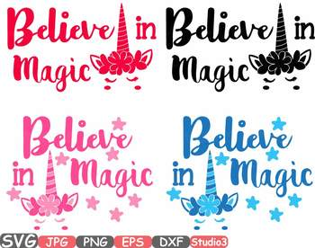 Believe in Magic Flower Unicorn clipart svg cameo Studio3 t-shirt design 55sv