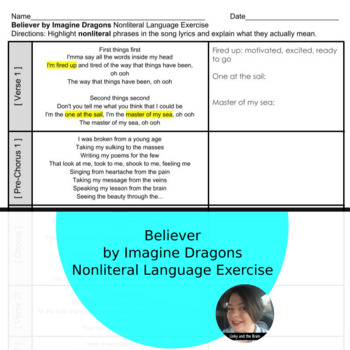 Believer by Imagine Dragons Nonliteral Language Excercise *+Google Classroom*