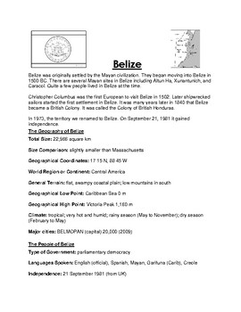 Belize Worksheet