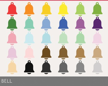 Bell Digital Clipart, Bell Graphics, Bell PNG, Rainbow Bell Digital Files