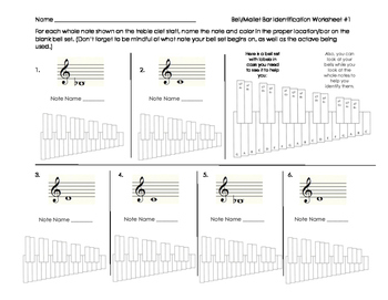 Bell/Mallet Percussion Note & Bar Identification Sheet for Band Beginners
