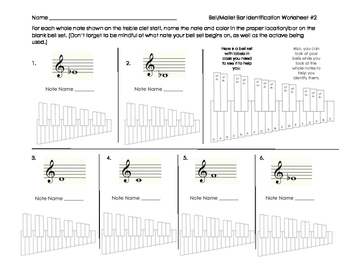Bell/Mallet Percussion Note & Bar Identification Sheet 2 f