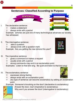 Sentences--Classify According to Purpose: Warriner's Write it Right 2