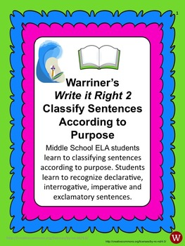 Sentences--Classify According to Purpose: Warriner's Write it Right 2
