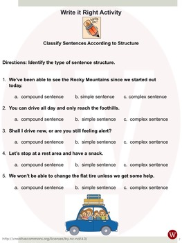 Sentences--Classify According to Structure: Warriner's Write it Right 3