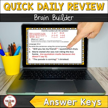 Bell Ringer Daily Warm-Ups- Algebra Puzzles & Quotation Marks