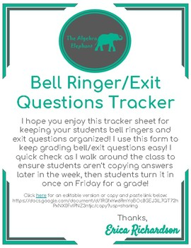 Weekly Bell Ringer and Exit Question Tracker