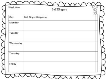 Bell Ringer & Exit Ticket Weekly Response Sheets