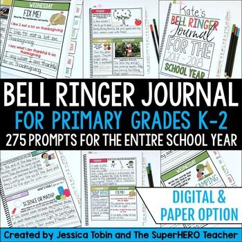 Writing Journal for Morning Work & Writing Warm-Up Grade 1-2 Bell Ringer Journal